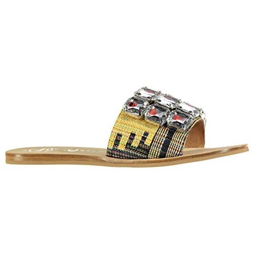 Jeffrey Campbell Darjana flach Sandale Gelb Fashion Damen Schuhe Schuhe