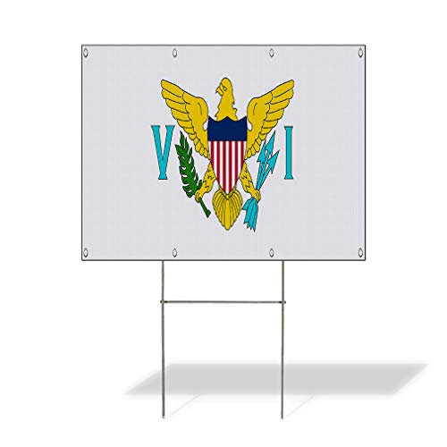 Plastic Weatherproof Yard Sign United States Virgin Island Flag White United States Virgin Island Flag Flags Blue for Sale Sign Multiple Quantities Available 18inx12in One Side Print One Sign