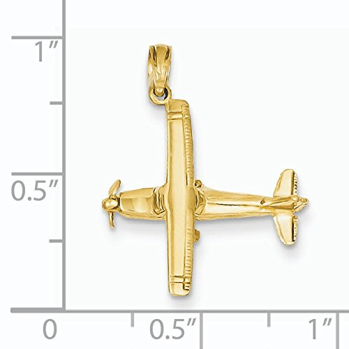 3 D 14 carats avec pendentif en forme D'aile D'avion-Dimensions :  21 x 19 JewelryWeb mm -
