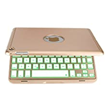 iPad Mini 4 Keyboard Case, iEGrow F8Smini+ Wireless Bluetooth Keyboard with Protective Case, 7 Colors Backlit Key Board Cover for iPad Mini 4(Gold)