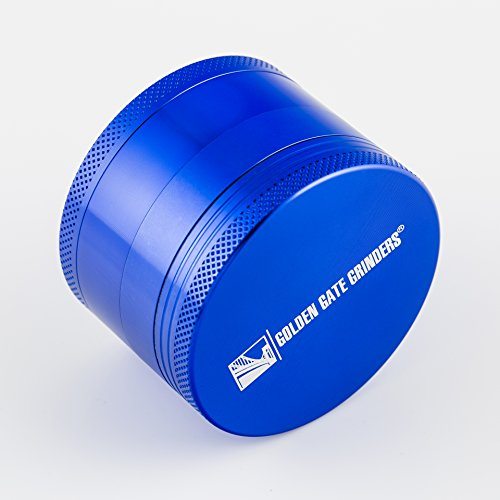 Golden Gate Grinder 2.5 Inch Ultimate Herb Grinder 4-piece Anodized Aluminum (Blue, Large)