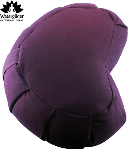 Zafu Crescent: Meditation Pillow with USA Buckwheat Hull Fill, Certified Organic Cotton- 6 Colors (Plum)