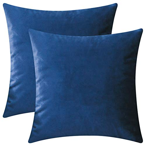 (HOME BRILLIANT Set of 2 Deluxe Velvet Decorative Pillowcases Throw Pillow Covers Set Cushion Covers, 18 x 18 inches(45x45cm), Royal Blue)