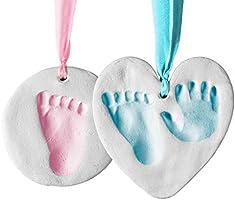 Bubzi Co Baby Handprint & Footprint Clay Ornament Kit for Newborns & Infants, Personalized Keepsake For Baby Nursery...