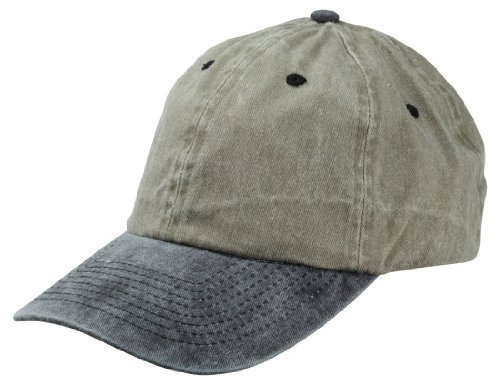 Blank Hat Pigment Dyed Washed Cotton Cap in Black and Khaki