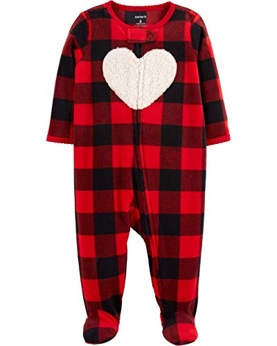 Carter's Baby Girls Plaid Heart Footed Coverall Fleece (6 Months) ()