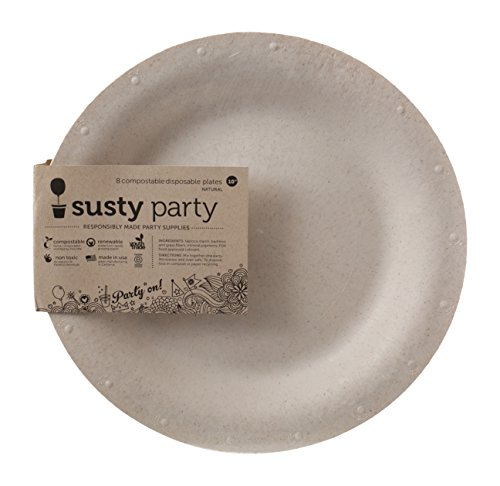 Susty Party Supplies Heavy Duty 100-Percent Compostable Dinner