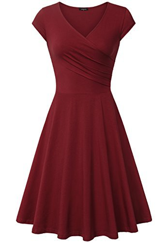 Laksmi Women's v-Neck Solid Short-Sleeve Knee Fit-and-Flare Dress, Wine, Medium ()