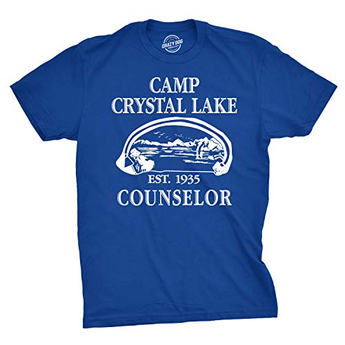 Mens Camp Crystal Lake T Shirt Funny Shirts Camping Vintage Horror Novelty Tees (Blue) - S