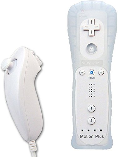 Stand Wii Controller Airplane (Stoga Built in Motion Plus Remote and Nunchuck Controller for Wii + Case-White)