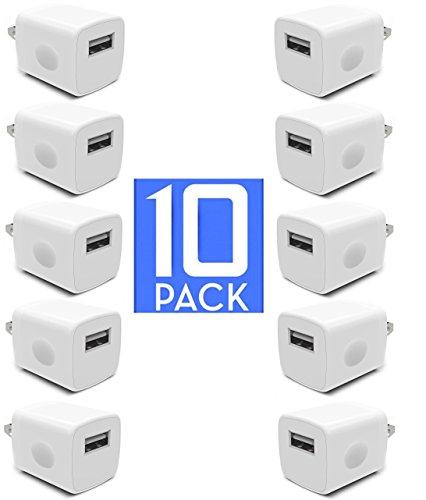Usb Cell Phone Charger Adapter (USB Wall Charger, Certified 5W / 1A PowerBoost Universal AC Travel USB Home Power Wall Charger Full-Speed 1.0A Output for iPhone iPod Samsung Galaxy Sony HTC LG iPod Nokia (10 Pack) White)