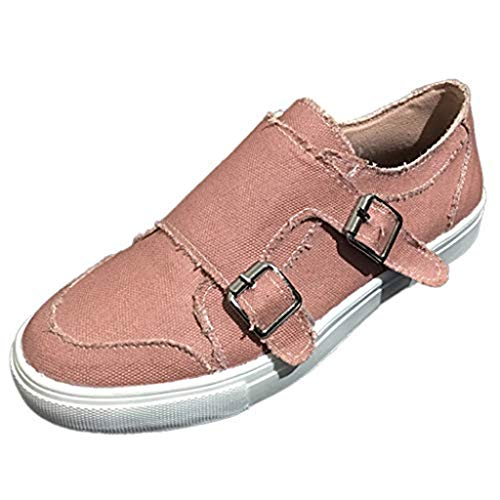 Shearling Pink Footwear - Dasuy Athletic Running Walking Shoes for Women Loafers Slip On Flats Espadrilles Shoes Tennis Trainer Sneakers Size 5-9 (US:9, Pink(Blet Buckle))