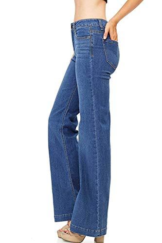 (WAX/Jack David Jeans Womens Juniors 70s Trendy Slim Fit Flared Bell Bottom Denim Jean Pants (Wax Jeans 91000 Medium Blue, 13))