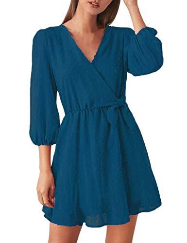 FENJAR Women Cute V Neck 3/4 Puff Sleeve Dresses Polka Dot Swing Loose Mini Party Dress(Acid Blue, L)