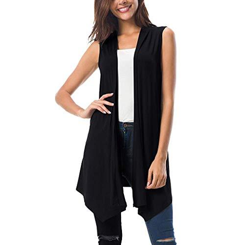 TANLANG Womens Elegant Sleeveless Draped Cardigan Tank Vest with Asymmetrical Flowing Hem Leisure Tops Tunic Shirt Blouse Black