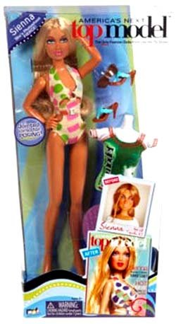 MGA American's Next Top Model (The only fashion doll from the hit TV show!) : SIENNA in swimming suit outfit sunglasses high heel sandal, green top model shirt and - Sunglasses With Models