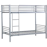 Twin Over Twin Bunk Bed Metal Frame W/ Ladder Kids Adult Children Bedroom New