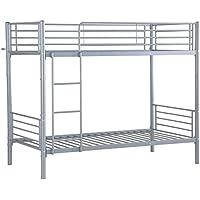 Twin Over Twin Bunk Bed Metal Frame W/ Ladder Kids Adult Children Bedroom New