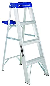 Louisville Ladder AS2104 4-Foot Duty Rating Aluminum Stepladder, 250-Pound