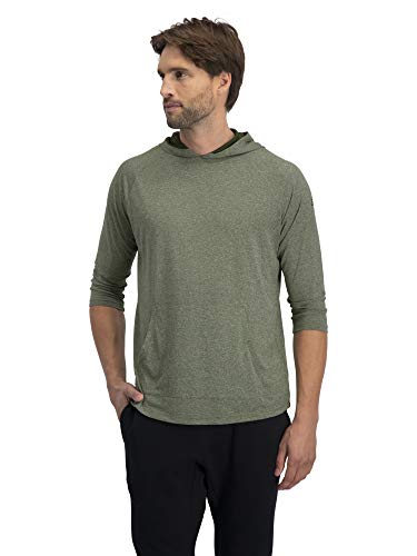 3/4 Sleeve Lightweight Hoodie Men - Dry Fit Workout Hoodies for Gym and Running Olive Green