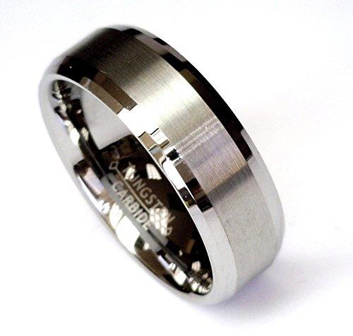 8Mm Tungsten Carbide Beveled Comfort Fit Wedding Band Mens Ring Brushed Center CJTU228-7