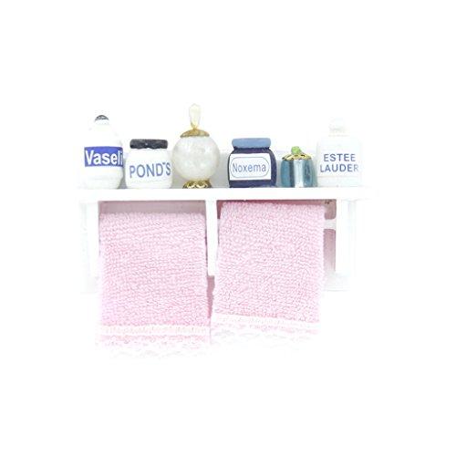 Fenteer 1/12 Scale Miniature Bathroom Set Towel Rack Makeup Cosmetic Set Models For Dolls House
