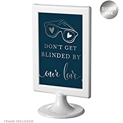 Andaz Press Framed Wedding Party Signs, Metallic Silver Ink on Navy Blue, 4x6-inch, Don't Get Blinded By Our Love Sunglasses Ceremony Sign, 1-Pack