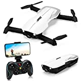 JJRC H71 RC Quadcopter Drone with Camera, 1080P HD 90° Adjustable Camera, Altitude Hold, WiFi FPV Live Video Foldable Drone with Optical Flow Positioning for Adults Beginners, Includes Portable Travel Carry Case (White)