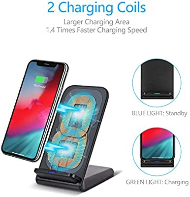 OneCut Update Wireless Charger, PowerCharger Stand for iPhone 1111 Pro 11 Pro Max, XR, XS, X, 8, 8 Plus, 10W Fast Charging Galaxy S10 S9 S8, Note 10