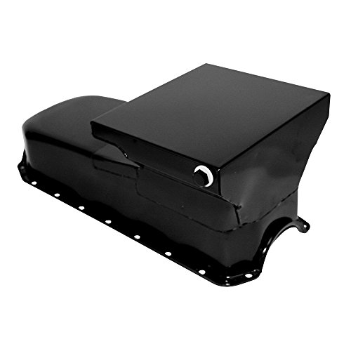 6 Quart Chevy - Assault Racing Products A7480P Small Block Chevy Black Drag Style Oil Pan 6qt 2-Piece Rear Main Driver Side SBC