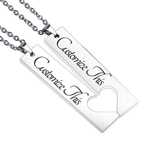 Fanery Sue 2PC Personalized Name Necklace Custom Engraved Matching Heart Puzzles Pendant Anniversary for Couples Best Friends (Custom Best Friend Necklaces)