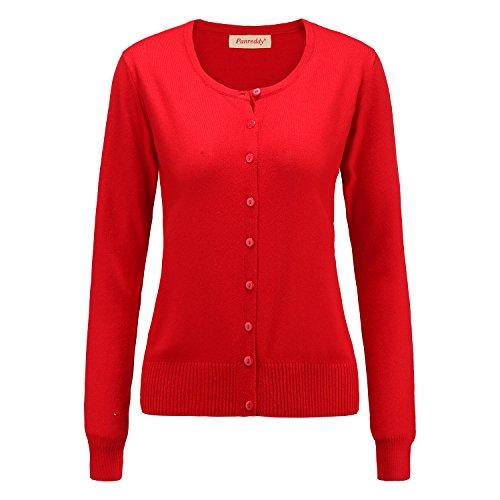 Panreddy Women's Wool Cashmere Classic Cardigan Sweater XL Red