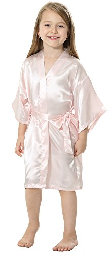 JOYTTON Kids' Satin Rayon Kimono Robe Bathrobe Nightgown (4,Pink) -