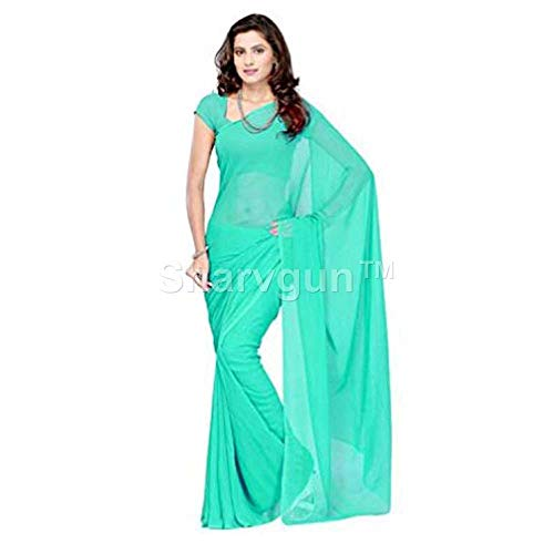 Sharvgun Women's Pure Chiffon Plain Solid Colors Indian Bollywood Saree (Sari) with Unstitched Blouse Piece Sea Green