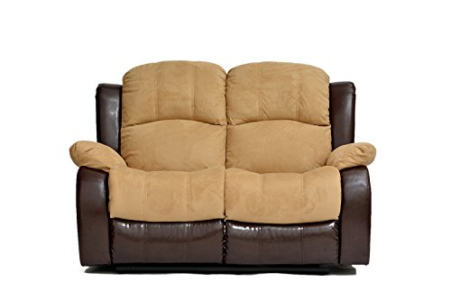 Classic and Traditional Brush Microfiber and Bonded Leather Recliner Loveseat (Hazelnut) price