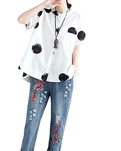 Cofouen Women's Casual Cotton Linen Button Down Shirt Tunic Tops Blouses Tees Short Sleeve with Pocket White L