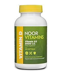 NoorVitamins Vitamin D3 5000 IU - 60 Softgels - Halal Vitamins