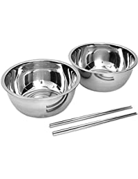 Acquisition 2 Sets Stainless Steel Silver Color Easy Grip Rim Mixing Bowl Chopstick Set for Bibimbap Korean Mixed Rice compare