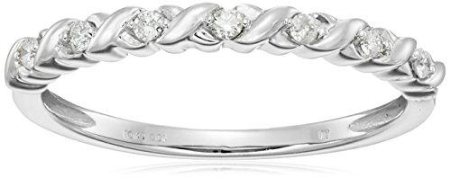 10k White Gold Diamond 1/10 cttw Stacking Band, Size 6