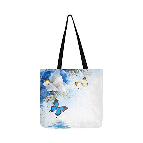 Flowers And Butterfly Blue Hydrangeas And White I Canvas Tote Handbag Shoulder Bag Crossbody Bags Purses For Men And Women Shopping Tote ()