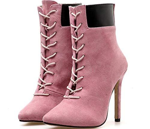 Stiletto À Talons Martin Bottes Pink Femmes Boots Les Pointues Lacets Hauts Des Nouvelles FCqTEzEfw