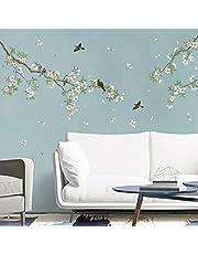 decalmile Muurstickers Vogels op Boomtak Muurtattoos Wit Bloesem Bloem Wanddecoratie Slaapkamer Huiskamer Kantoor Huis Decor