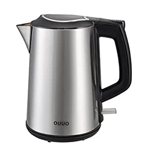 OUUO Cordless Stainless Steel Double Wall Electric Water Kettle 1.9 quart