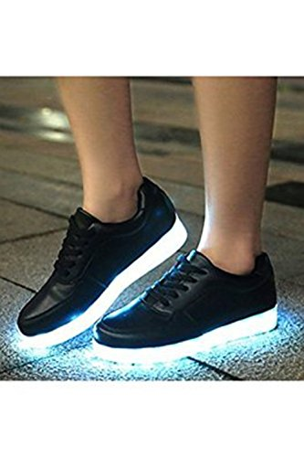 [Presente:pequeña toalla]JUNGLEST® Mujer Zapatillas Deportivas Planos con Luz LED Negro