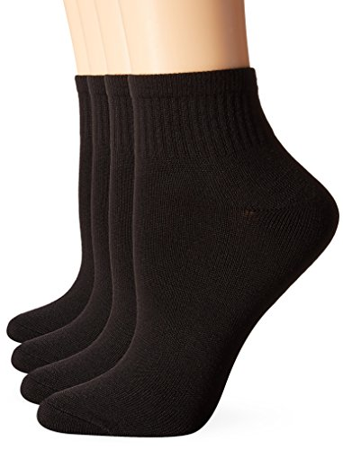 Hanes Women's ComfortSoft Ankle Sock, 3-Pack, Black/Assorted, Extended 10-12/Shoe ()