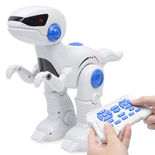 SQRTOY Robot Dinosaur Intelligent RC Tyrannosaurus Model with Music Light Walking Programming Teaching Function Electric Dinosaur Toy,White -