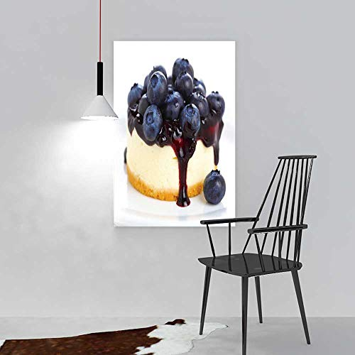 aolankaili Art The Picture for Home Decoration Frameless Cake with Cream Cheese and Fresh Blueberries Art for Home Decorations Wall Decor W32 x H48