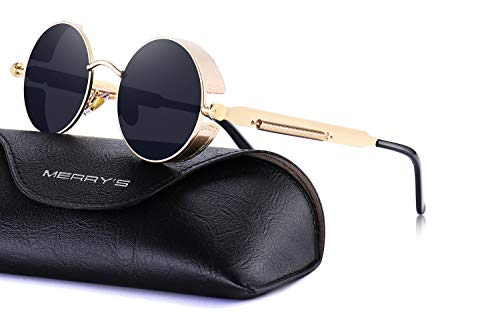 MERRY'S Gothic Steampunk Sunglasses for Women Men Round Lens Metal Frame S567(Gold&Black, 46) ()