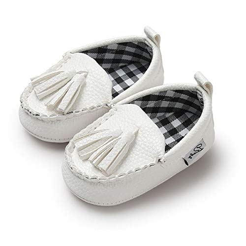 (Baby Shoes Toddler Infant Boys' Girls' Loafers Soft Sole Flat Boat Dress Shoes Moccasins(6-12 Months M US Infant,B-White))