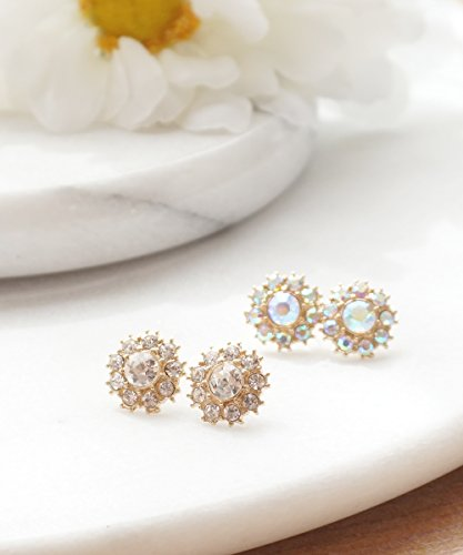 - Starburst Flower Stud Earrings, Sparkling Crystal Milky Opalescent or Clear Crystal Earrings, Everyday Earrings